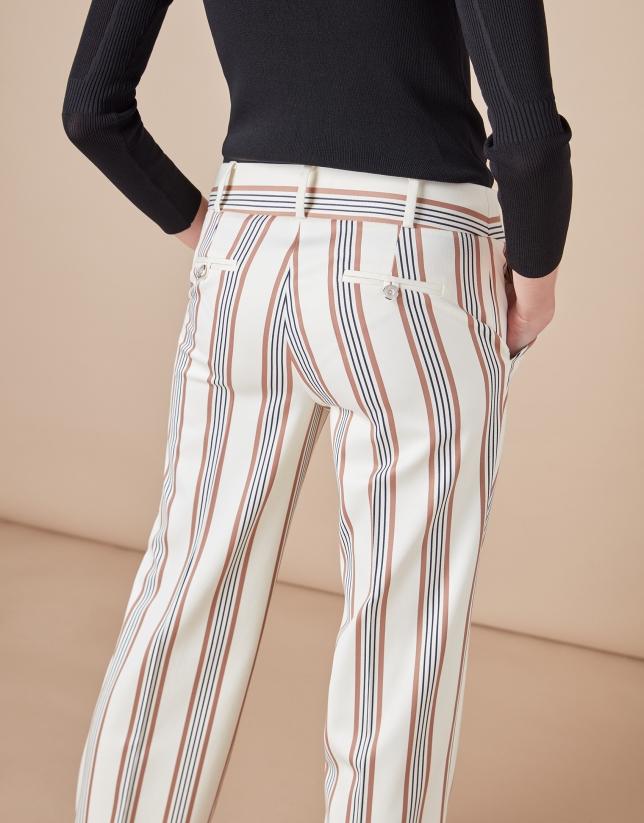 Pantalón masculino rayas crudo