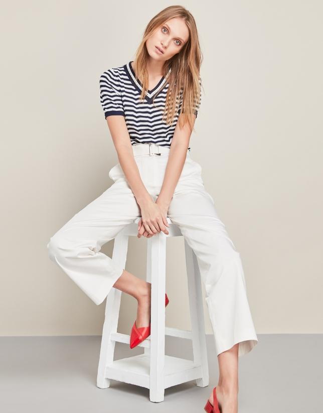Pantalon décontracté taille haute blanc