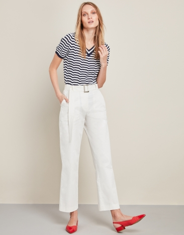 White high-waisted sport pants