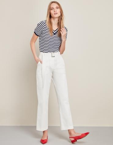 White high-waisted sport pants