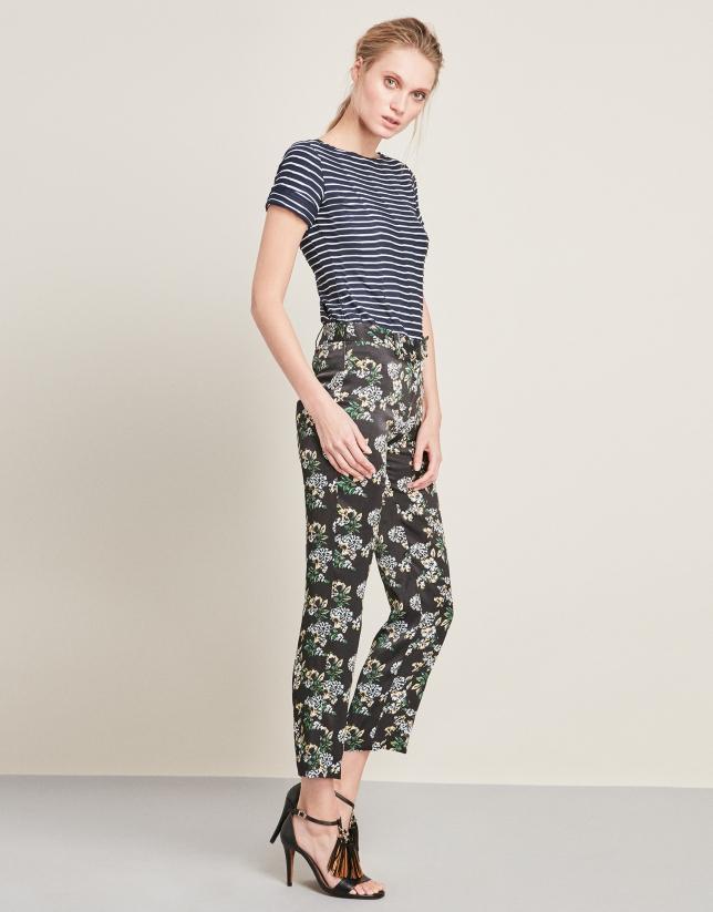 Straight print pants