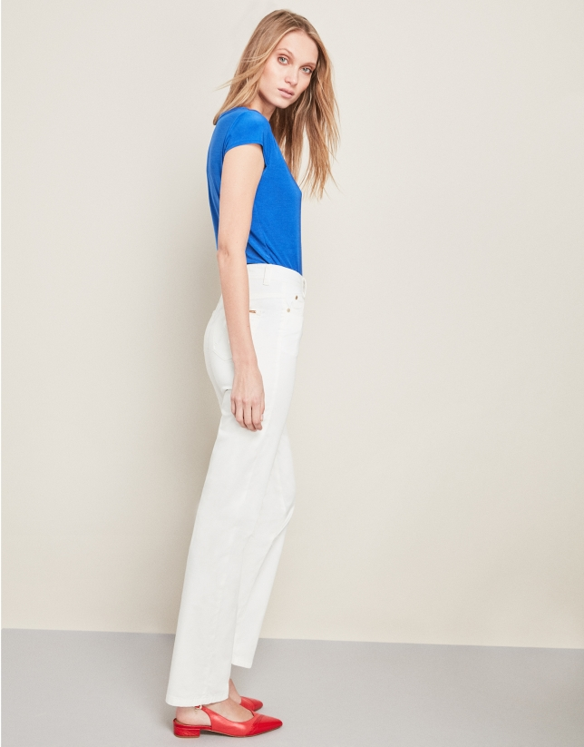 Beige sport pants with five pockets
