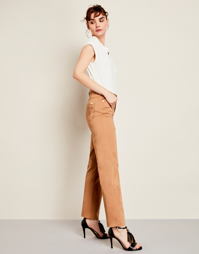 Pantalon décontracté cinq poches marron