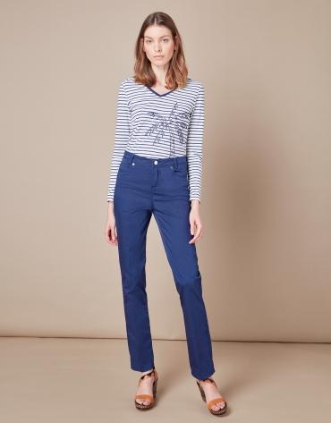 Pantalon décontracté cinq poches bleu marine