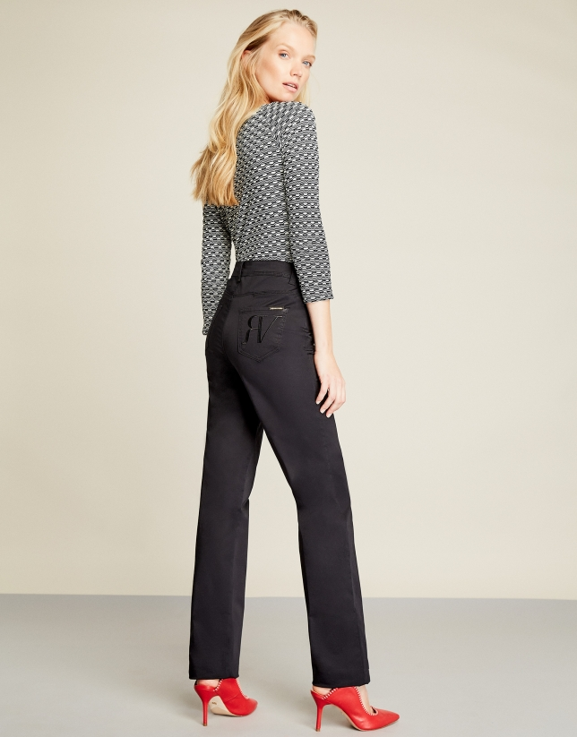 Pantalon décontracté cinq poches noir
