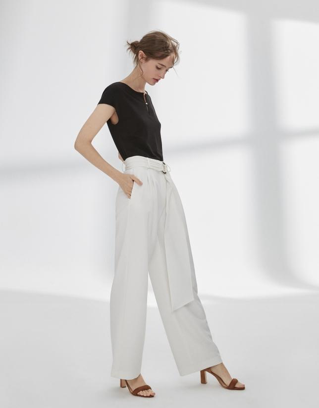 Pantalon palazzo à pinces écru