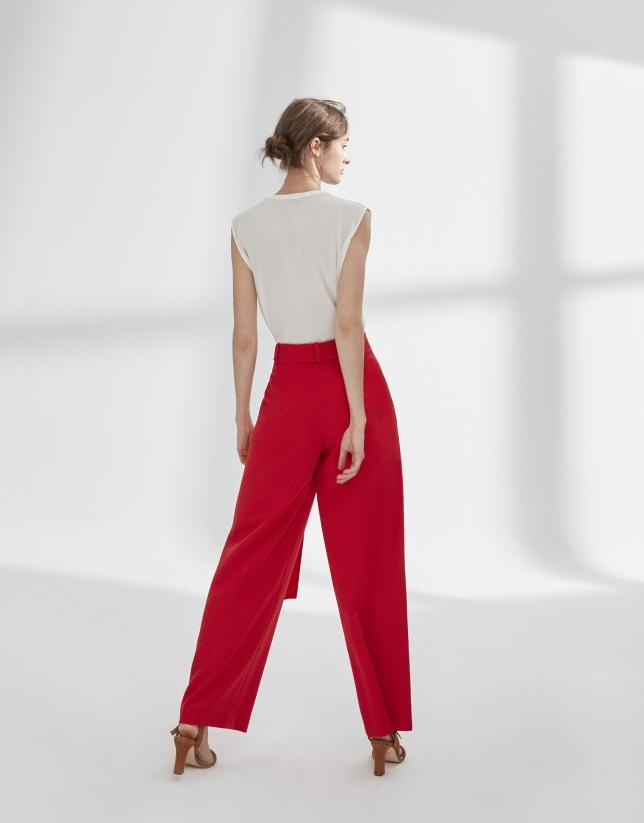 Pantalon palazzo à pinces rouge