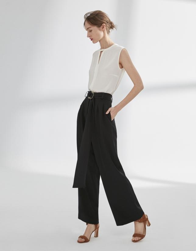 Pantalon palazzo à pinces noir