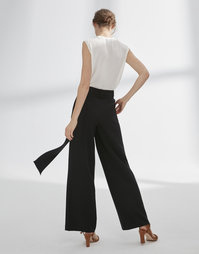 pantalon palazzo pinces noir femme pe2018 roberto verino. Black Bedroom Furniture Sets. Home Design Ideas