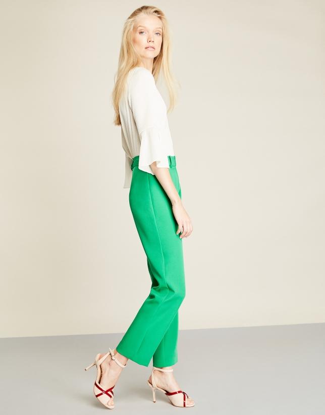 Green crepe pants