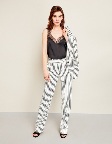 Beige pinstriped pants