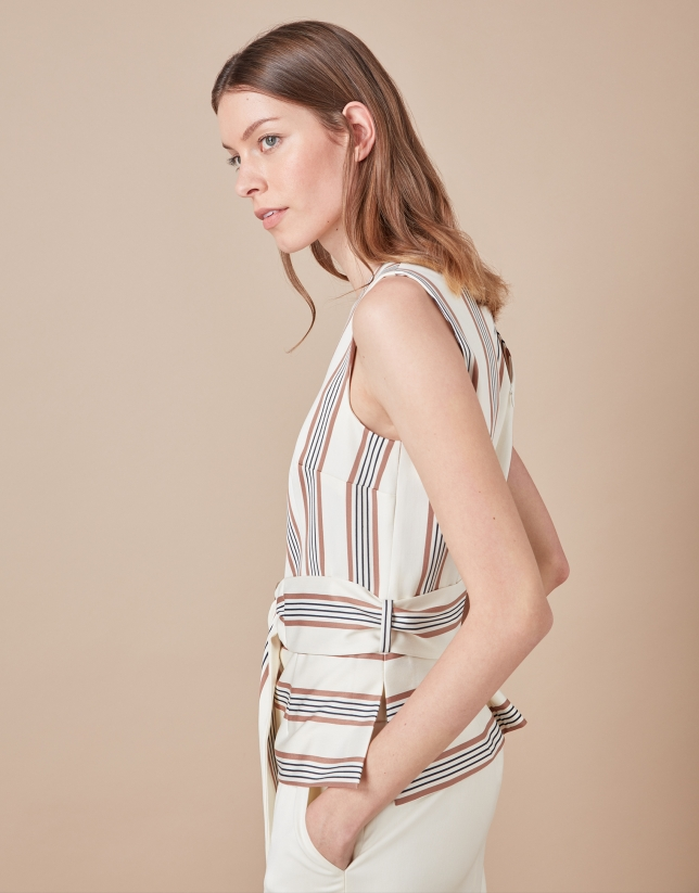 Beige striped top