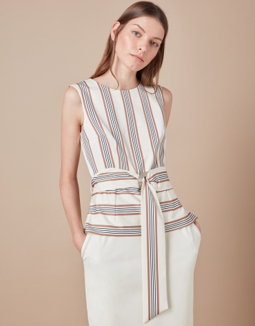 Beige striped top