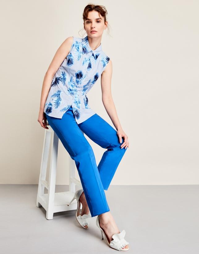 Blue embroidered shirtwaist top