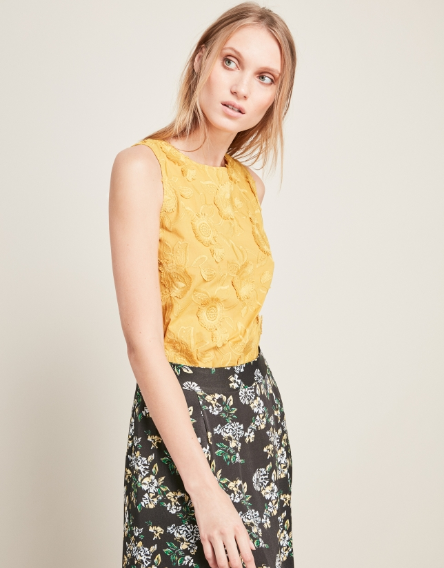 Ochre embroidered top