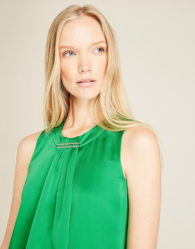 Green satin top