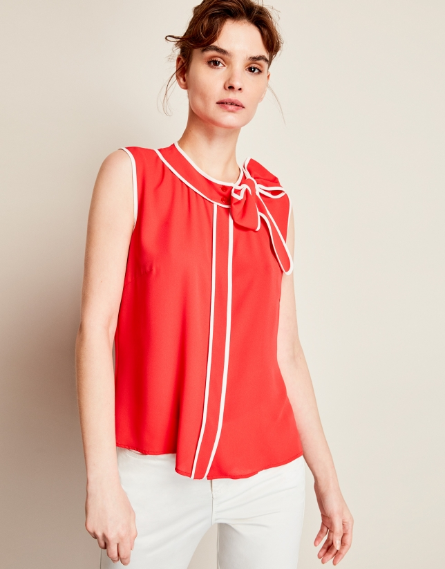 Red top with bow