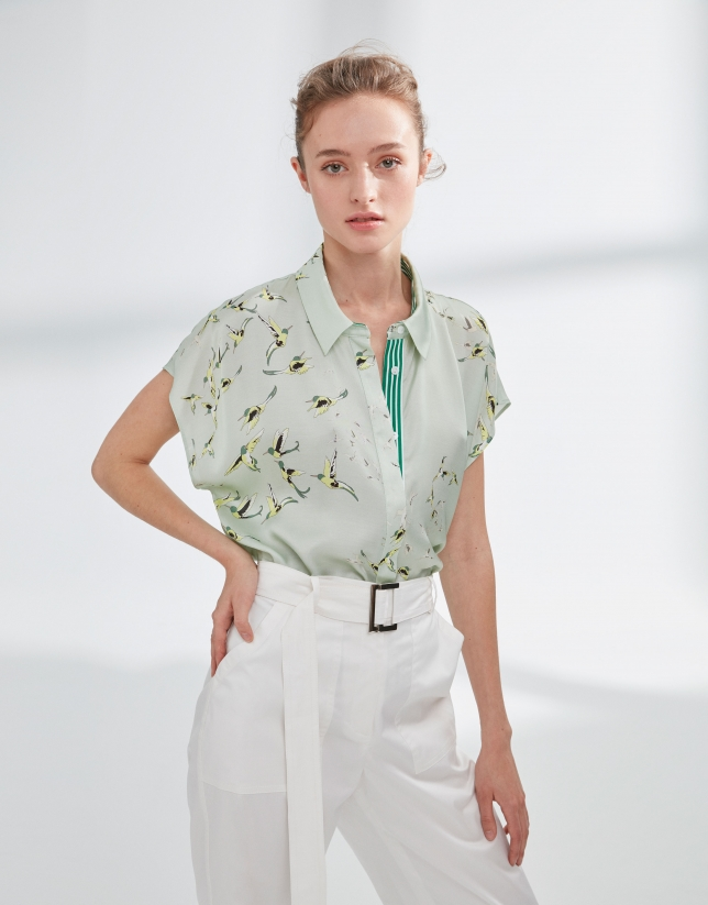 Green Japanese-style blouse