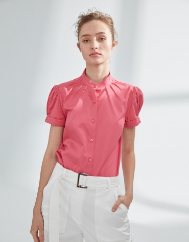 Pink blouse with puff sleeves