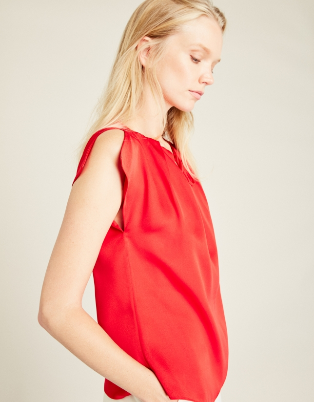 Red satin top with bow