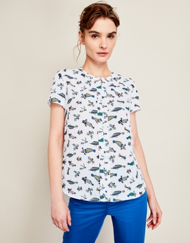 Beige top with fish print