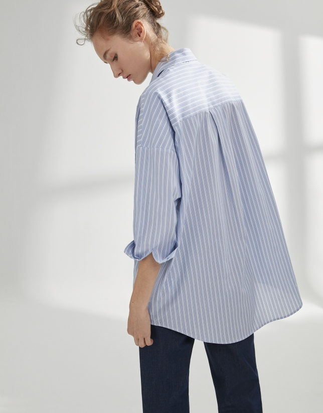 Blue striped loose shirt