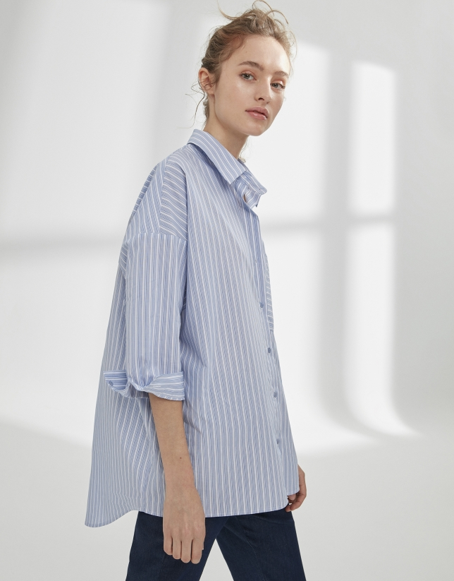 Blue striped loose shirt