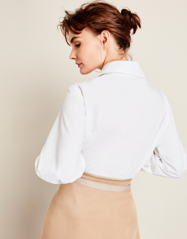 White shirt with patch sleeves