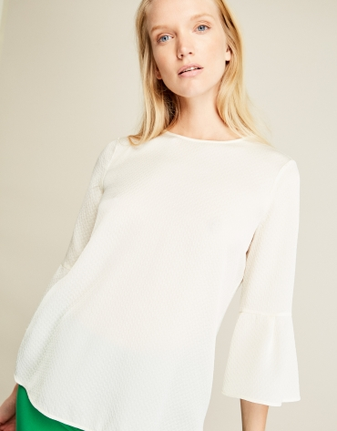 Beige top with flounce sleeves