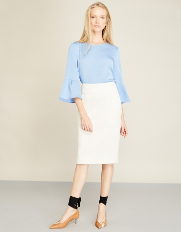 Blue top with flounce sleeves