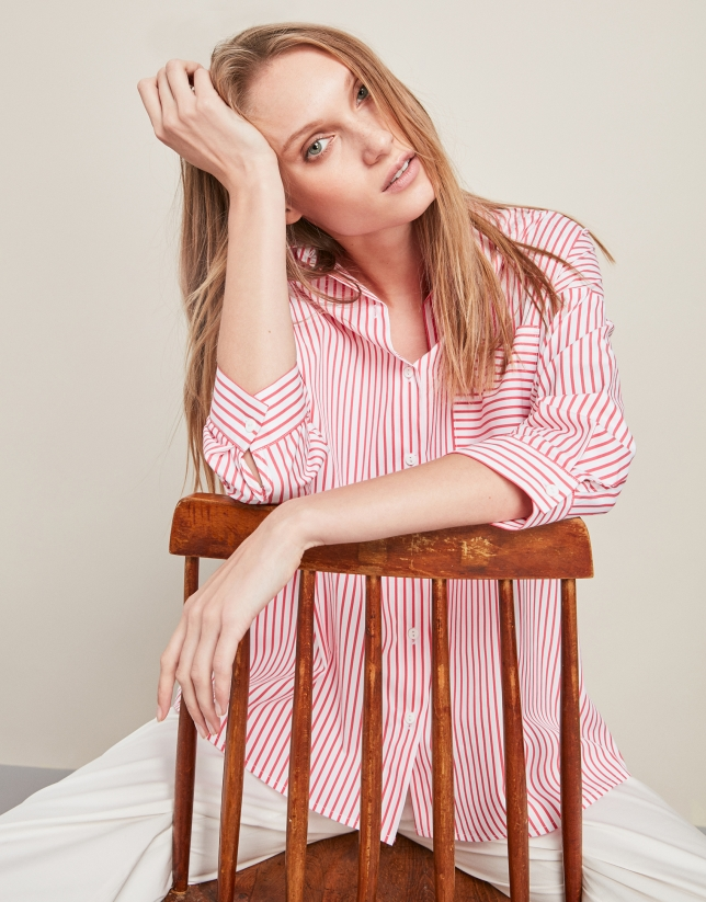 Red striped loose shirt