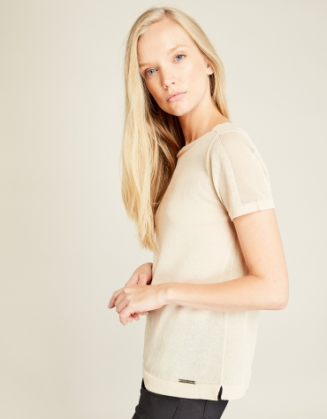 Beige structured t-shirt