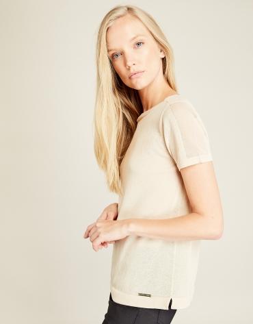 T-shirt structuré beige