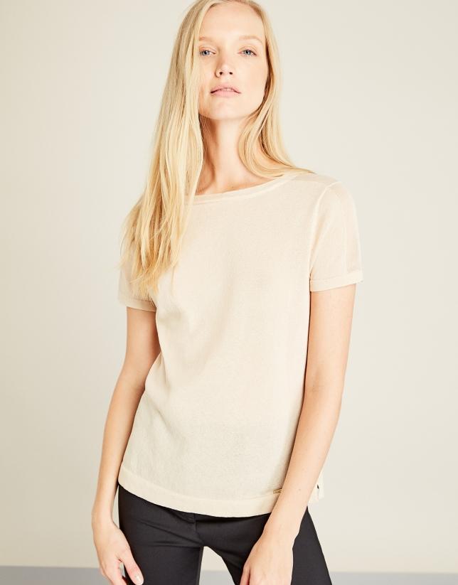 Camiseta estructura beige