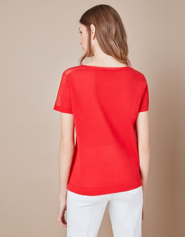 T-shirt structuré rouge