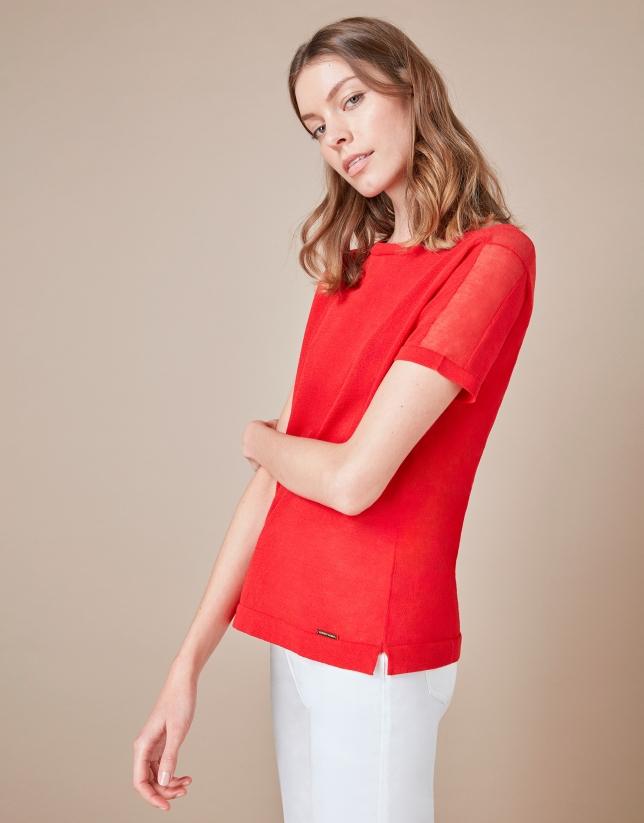 T-shirt structuré rouge