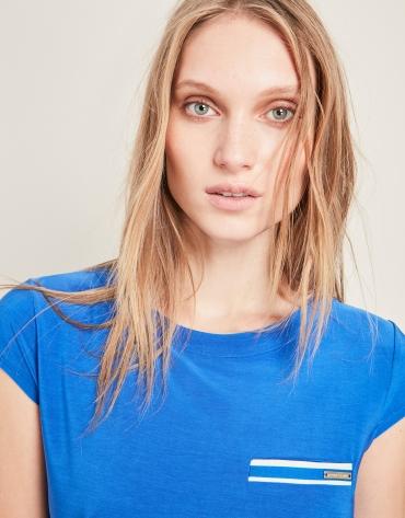 Blue satiny knit t-shirt