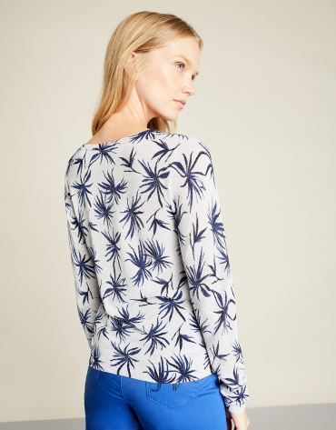 T-shirt glitter (paillettes) à fleurs bleues