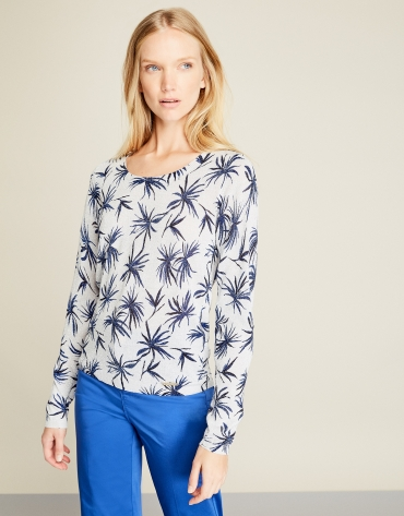Blue floral print t-shirt with glitter