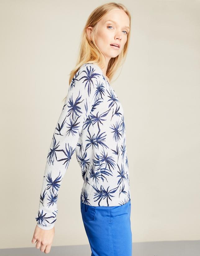 Camiseta glitter flores azules