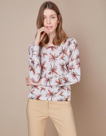 T-shirt glitter (paillettes) à fleurs rouges