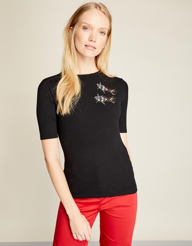 T-shirt noir imprimé de poissons