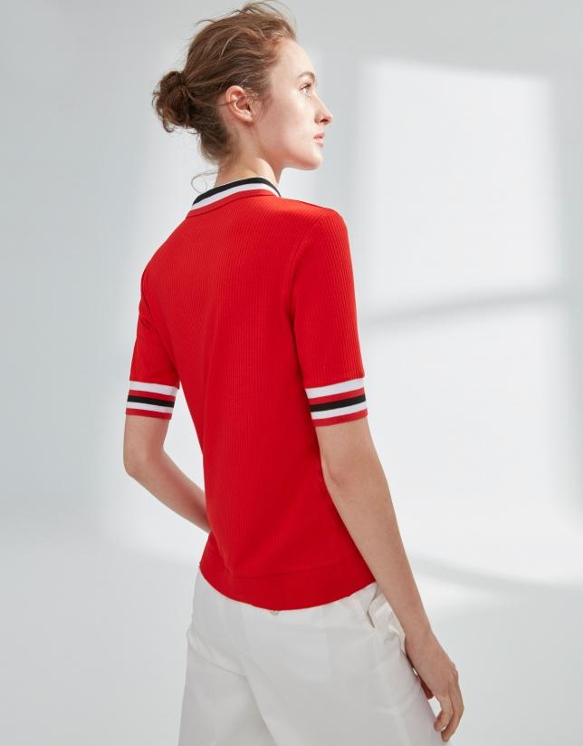 Polo en bord-côte rouge