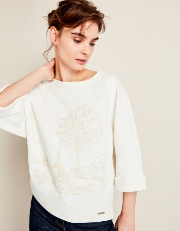 Beige print sweatshirt