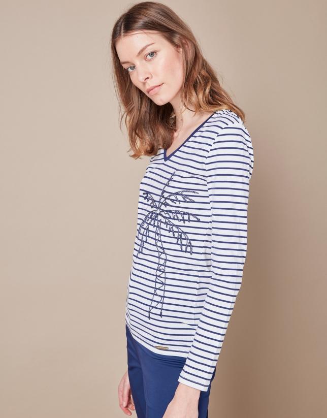 T-shirt à rayures bleues et palmier