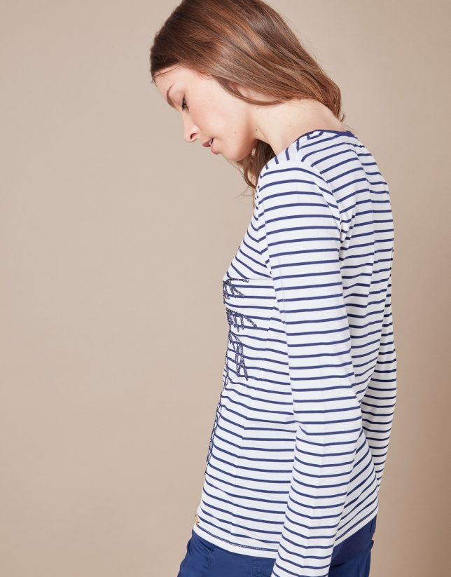 Blue striped top with palm tree
