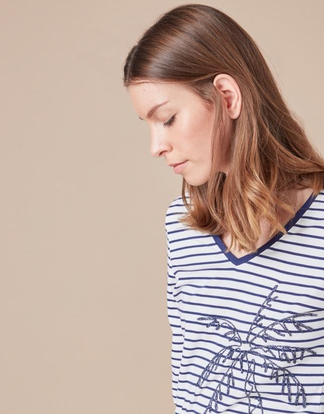Camiseta rayas azules palmera