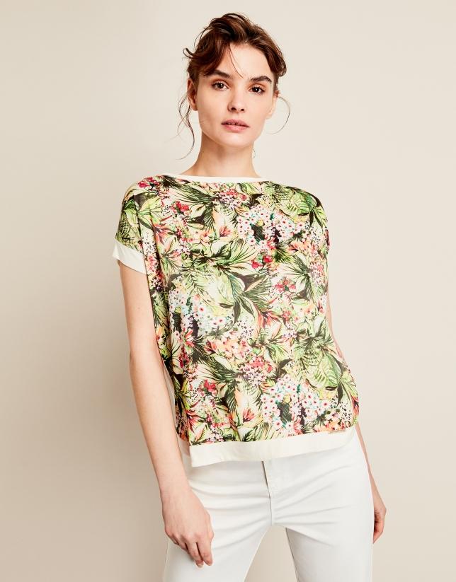 T-shirt ample à fleurs
