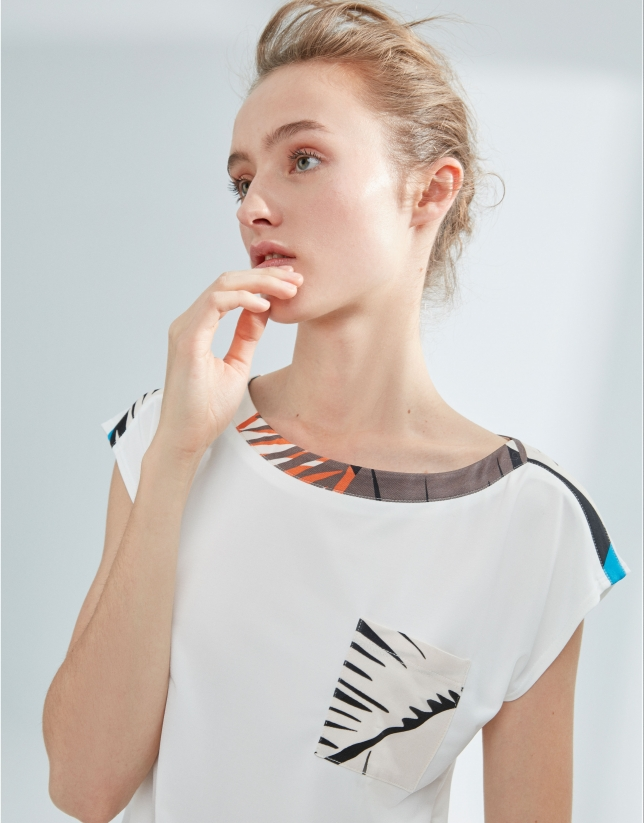 White, mixed fabric top, with palm leaf print