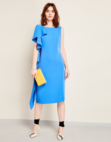Blue asymmetric dress with flounce